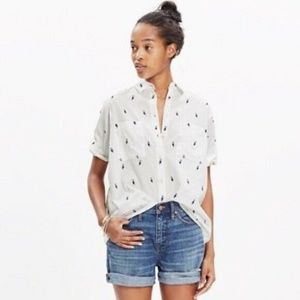 Madewell XS Penguin Courier Blouse Button Down Shi